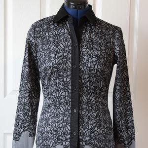 Abstract Print Black & Gray Button Down Shirt